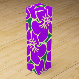 Purple Hibiscus Flowers Tropical Hawaiian Luau Wine Gift Box