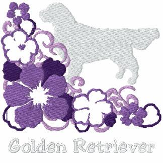 Purple Hibiscus Golden Retriever Hoody