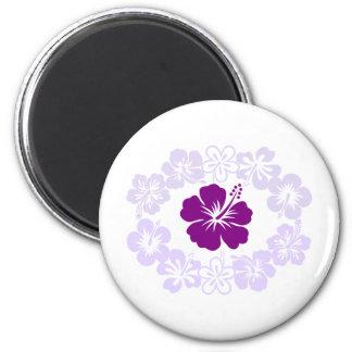 Purple Hibiscus Lei 2 Inch Round Magnet