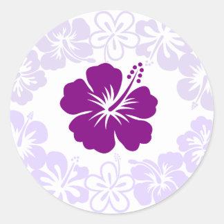 Purple Hibiscus Lei Classic Round Sticker