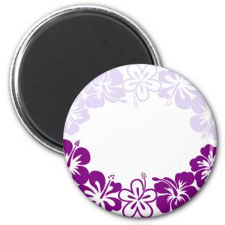 purple hibiscus lei garland 2 inch round magnet