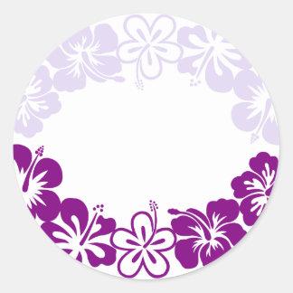 purple hibiscus lei garland classic round sticker