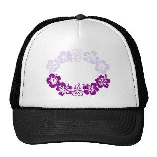 purple hibiscus lei garland mesh hat