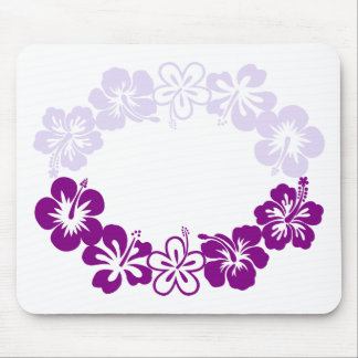 purple hibiscus lei garland mouse pad