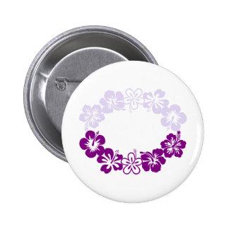 purple hibiscus lei garland pinback button
