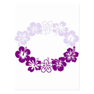 purple hibiscus lei garland postcard