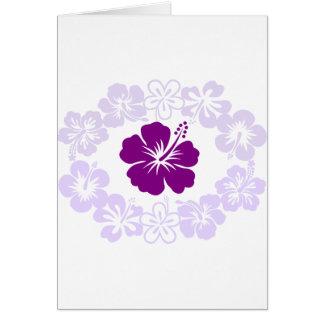 Purple Hibiscus Lei Greeting Cards