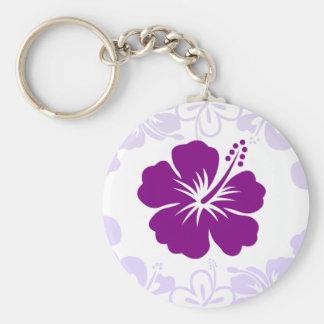 Purple Hibiscus Lei Keychain