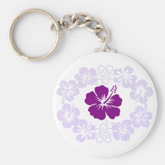 Purple Hibiscus Lei Keychains