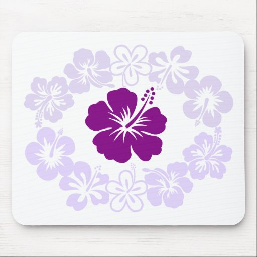 Purple Hibiscus Lei Mouse Pad