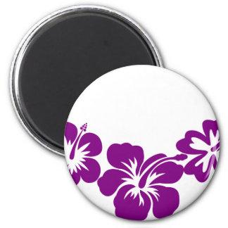Purple hibiscus leis 2 inch round magnet