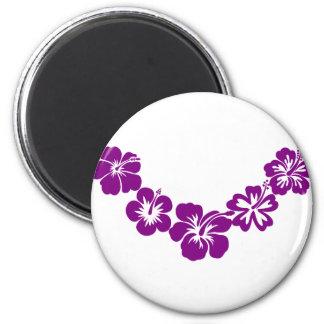 Purple hibiscus leis magnets