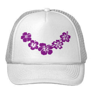 Purple hibiscus leis mesh hats