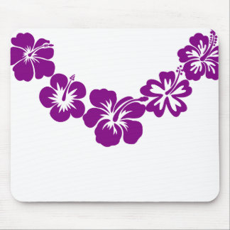 Purple hibiscus leis mouse pad