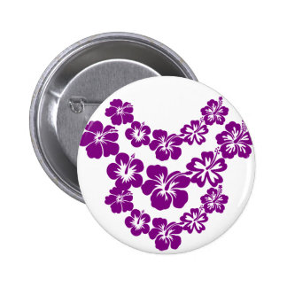 Purple hibiscus leis pinback buttons