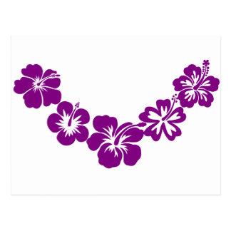 Purple hibiscus leis postcard