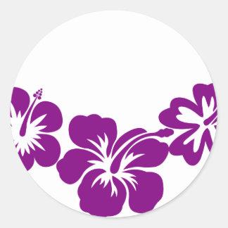 Purple hibiscus leis round sticker