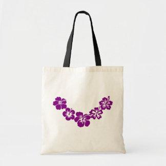 Purple hibiscus leis tote bag