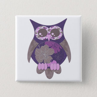 Purple Hibiscus Owl Button