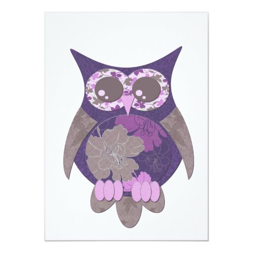 Purple Hibiscus Owl Invitation