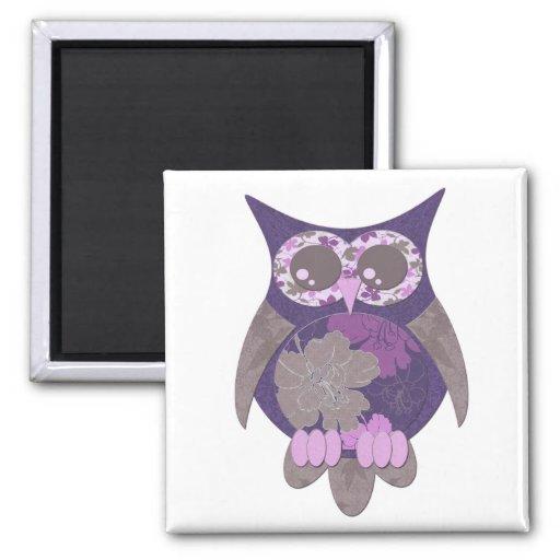 Purple Hibiscus Owl Magnet