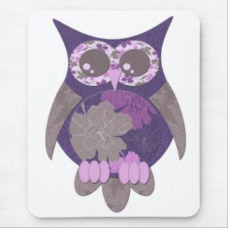 Purple Hibiscus Owl Mousepad