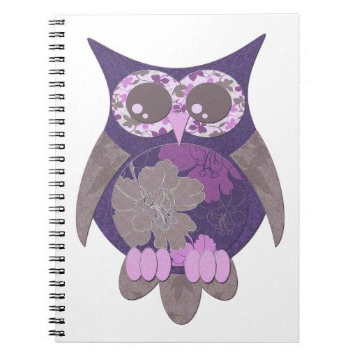 Purple Hibiscus Owl Notebook