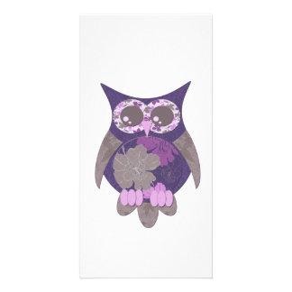 Purple Hibiscus Owl Photo Card