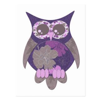 Purple Hibiscus Owl Postcard