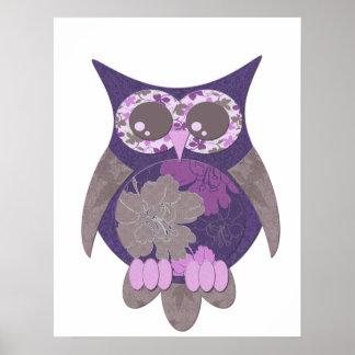 Purple Hibiscus Owl Poster