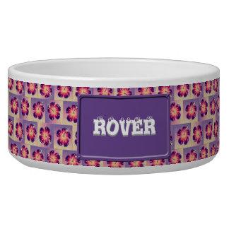Purple hibiscus pattern dog food bowl