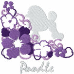 Purple Hibiscus Poodle Embroidered Hoody