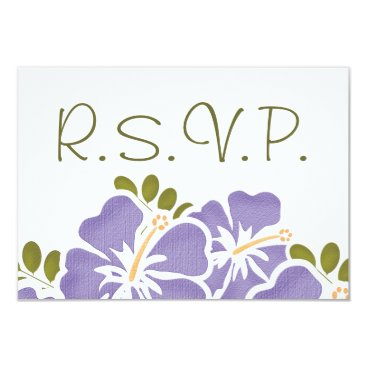 Beach Themed PURPLE HIBISCUS RSVP WEDDING RESPONSE CARDS