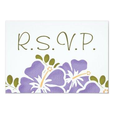 Beach Themed PURPLE HIBISCUS RSVP WEDDING RESPONSE CARDS