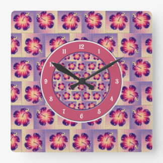 Purple hibiscus seamless pattern square wall clock