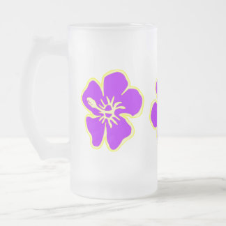 Purple Hibiscus Tropical Flowers Hawaiian Luau Frosted Glass Beer Mug