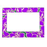 Purple Hibiscus Tropical Flowers Hawaiian Luau Magnetic Picture Frame