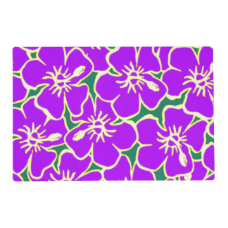 Purple Hibiscus Tropical Flowers Hawaiian Luau Placemat