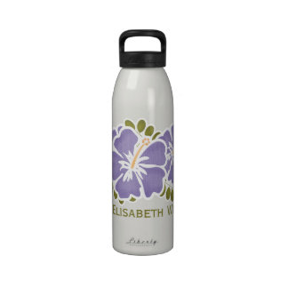 Purple Hibiscus Water Bottle BPA Free