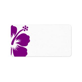 Purple hibiscus wedding blank address label