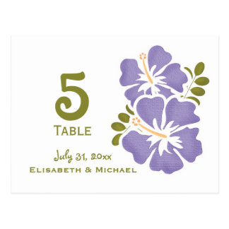 Purple Hibiscus Wedding Reception Table Number Car Postcard