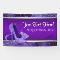 Purple High Heel Shoe Birthday Party Banner