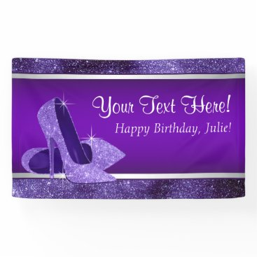 birthday Purple High Heel Shoe Birthday Party Banner