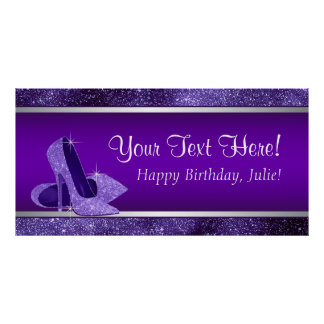 Purple High Heel Shoe Birthday Party Banner Poster