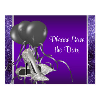 Purple High Heel Shoe Save The Date Postcard