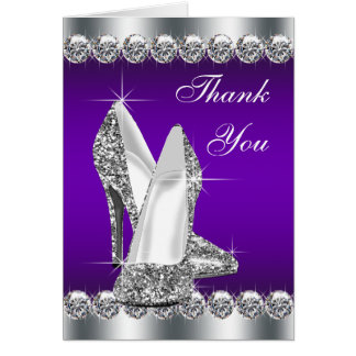 Purple High Heel Shoe Thank You Cards
