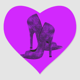 Purple High Heel Shoes Heart Sticker