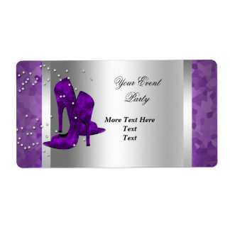 Purple High Heel Shoes Silver Event Party Label