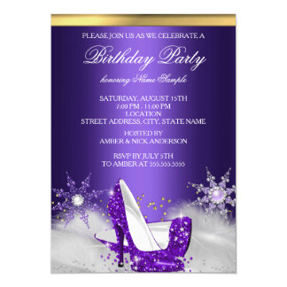 Purple High Heel Shoes Silver Gold Birthday Party Card