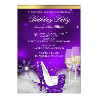 Purple High Heel Shoes Silver Gold Champagne Party 5x7 Paper Invitation Card